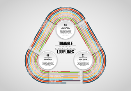 Vector illustration of Triangle Loop Lines Infographic design element.