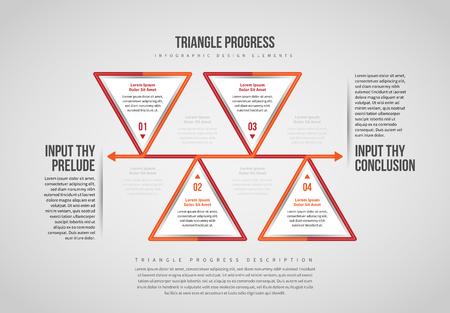 Vector illustration of Triangle Progress Infographic design elements.