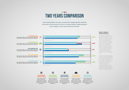 Vector illustration of Two Years Comparison Infographic design element.