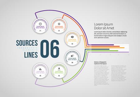Vector illustration of Sources 6 Lines Infographic design element. Stock Illustratie
