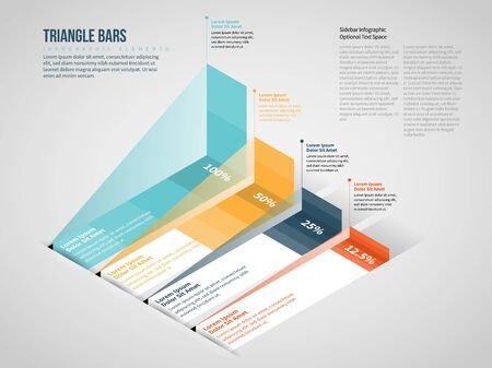 Vector illustration of Isometric Triangle Bars Infographic design element.
