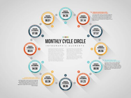 Vector illustration of Monthly Cycle Circle Infographic design element. Çizim