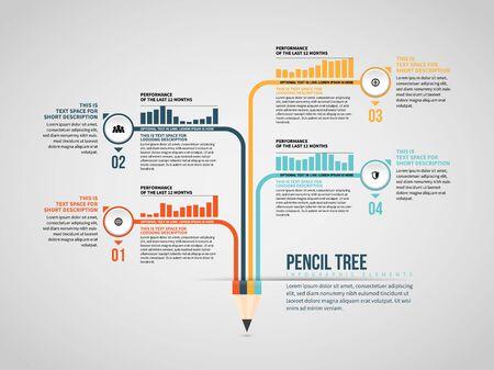 Vector illustration of Pencil Tree Infographic design element. Çizim