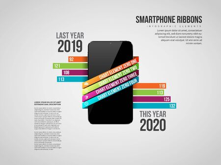 Vector illustration of Smartphone Ribbon Infographic design element. Çizim
