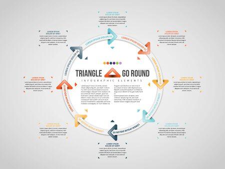 Vector illustration of Triangle Arrows Go Round design element. Stock Illustratie