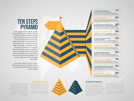 Vector illustration of Ten Steps Pyramid Infographic design element.