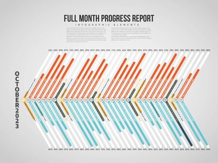 Vector illustration of Full Month Progress Report Infographic design element.