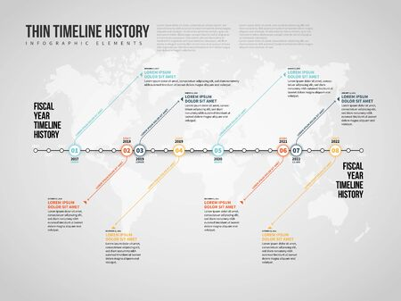 Vector illustration of Thin Timeline History Infographic design element.