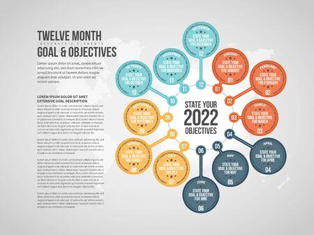 Vector illustration of Twelve Month Objectives Infographic design element.