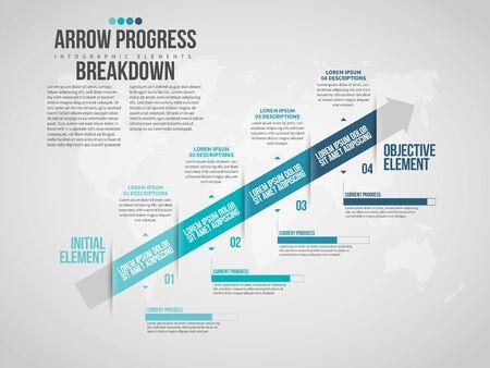 Vector illustration of Arrow Progress Breakdown Infographic design element. Иллюстрация