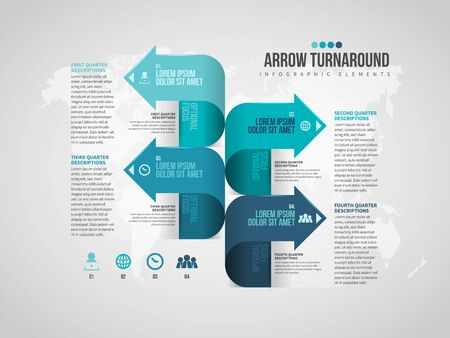 Vector illustration of Arrow Turnaround Infographic design element. 일러스트