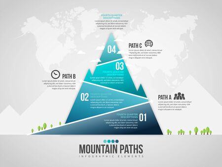 Vector illustration of Mountain Paths Infographic design element.