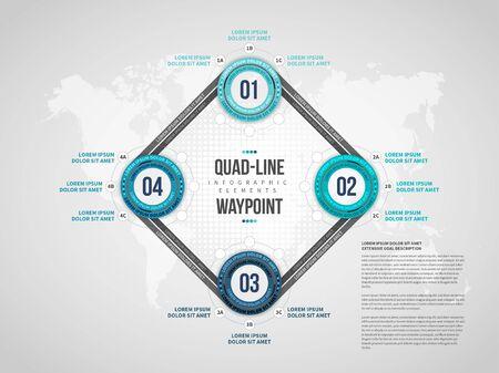 Vector illustration of Quad-Line Waypoint Infographic design element.