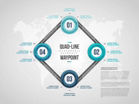 Vector illustration of Quad-Line Waypoint Infographic design element.