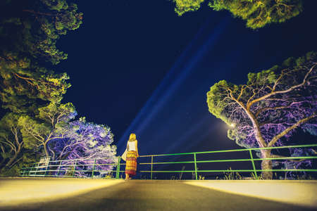 Silhouette of woman standing by the fence at beautiful starry night. Disco light in background. Stock Photo