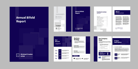 01-Report Brochure Creative Design. Multipurpose template with cover, back and inside pages. Trendy minimalist flat geometric design. Vertical a4 format. - Vector