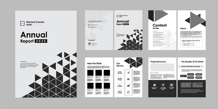 02-Report Brochure Creative Design. Multipurpose template with cover, back and inside pages. Trendy minimalist flat geometric design. Vertical a4 format. - Vector