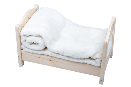 baby bed with a woollen cloth Stock Photo - 15365257