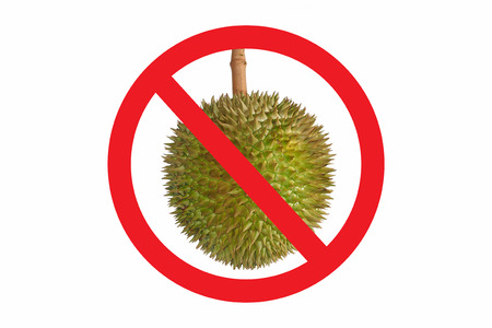 no cholesterol: Not allow Durian symbol isolated on white background. Circle Prohibited red Sign on Durian photo. Smelly food not allowed Stock Photo