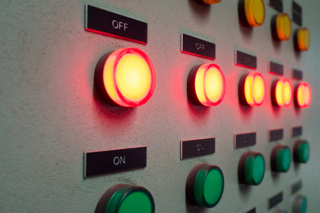 redes electricas: Red and green light led on electric Control Panel showing onoff status