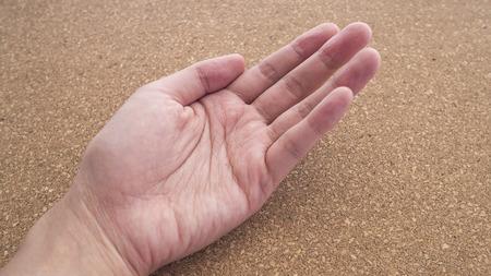 cork wood: Upturned left hands for holding something on cork wood background