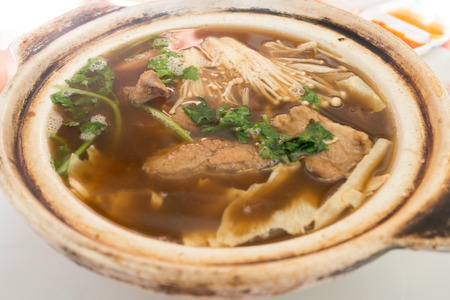 Chinese cuisine, Bak kut teh soup. Stew of pork and herbs soup.