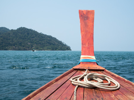 Traveling by boat among the Island. Travel by longtail boat at the tropical beach in Andaman sea, Thailand Stock Photo