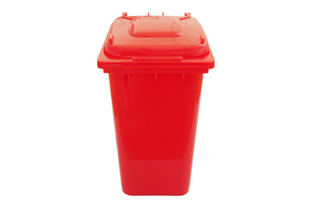hazardous waste: Red bin for hazardous waste isolated on white background. Stock Photo