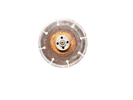 fibra de vidrio: Hoja de rueda de diamante antiguo para amoladora aislada sobre fondo blanco (trazado de recorte incluido) Foto de archivo