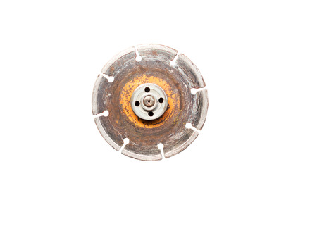 Old diamond wheel blade for grinder isolated on white background (clipping path included)