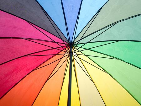 rainbow umbrella: Rainbow colorful inside umbrella for background.