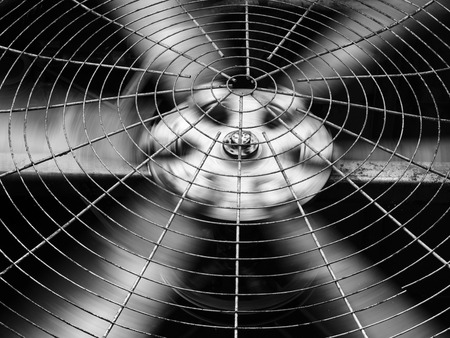 Black and white of HVAC (Heating, Ventilation and Air Conditioning) spining blades / Closeup of ventilator / Industrial ventilation fan background / Air Conditioner Ventilation Fan / Ventilation system