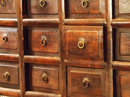 home office interior: Vintage old wooden drawers. Retro style of wood cabinet. Stock Photo