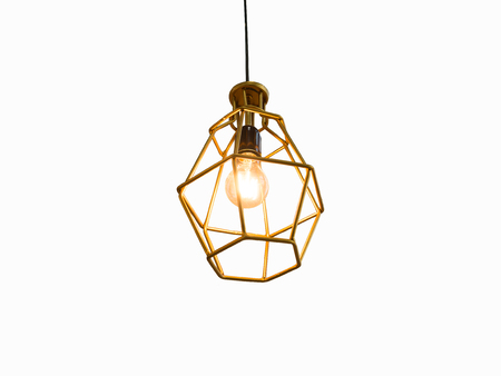 Vintage caged creative lamp light bulb in modern style for home or restaurant decor. Interior light design concept. Stock Photo