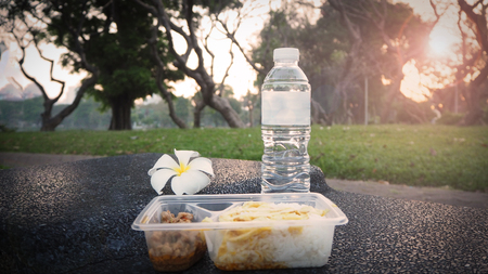 Packed box for breakfast or lunch meal. Easy rice box with  water ready for eat in park. Stok Fotoğraf