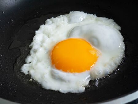 Fried egg in frying teflon pan with oil