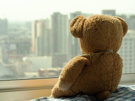 Sad brown teddy bear doll sitting alone on window shield looking outside, feel alone, sad and disappointed. Standard-Bild