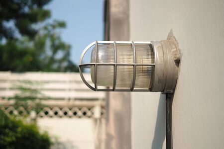 Wall light lamp bracket outdoor on white wall for night light at home.
