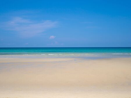 Blue sea sky and white sand at nice tropical beach sunny day in summer.