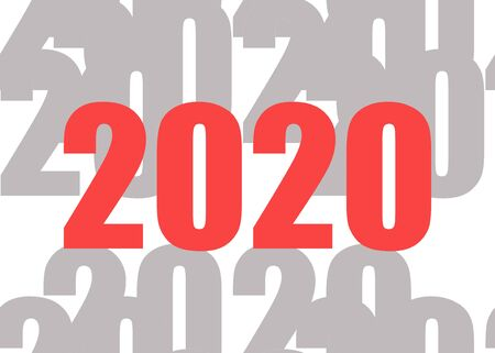 Happy New 2020 Year. Red 2020 illustration with grey 2020 pattern background. Festive poster or banner design.