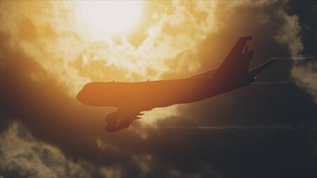 Many Airliners In The Sky In The Front Of The Sun. Reklamní fotografie