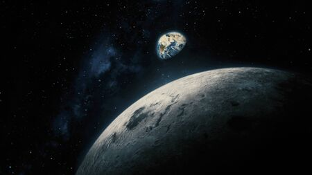 Space View From Moon To Earth