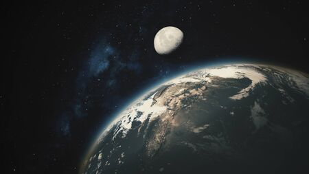 Space View From Earth To Moon