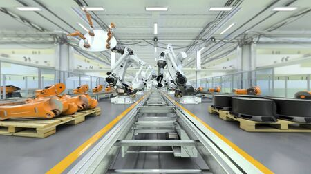 This is a high detailed 3D image of a Robotic Factory, where Industrial Robots are showing a part of their capabilities. Completely CGI, done with 3D Studio Max. There are different versions of this image available, as well as a high detailed 8K animation and lots of 4K animations.