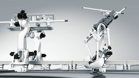 This is a high detailed 3D image of two industrial robots, showing off a part of their capabilities. Completely CGI, done with 3D Studio Max. There are also 4k animations of this image available