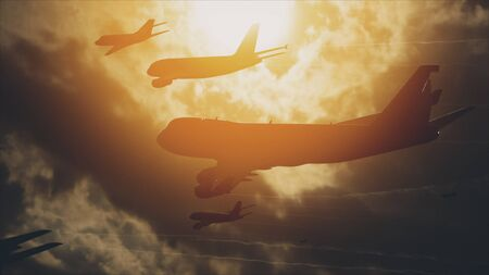 Many Airliners In The Sky In The Front Of The Sun. Stockfoto