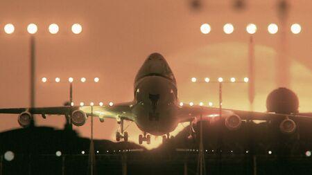 Airplane Taking Off At Sunset, Close Up Reklamní fotografie