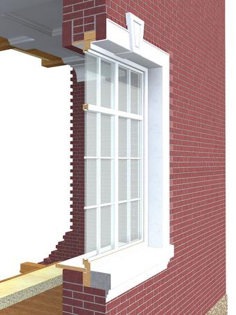 double cross: Sezione di finestra in legno con doppio vetro nel muro di mattoni isolati su bianco