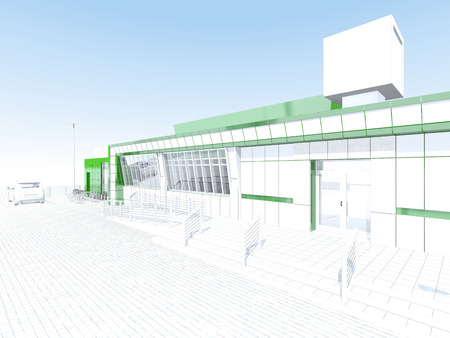 velocipede: Store building with showcase billboard and bike parking