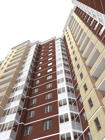 multi story: 3d rendering of modern multi-storey residential building isolated on white